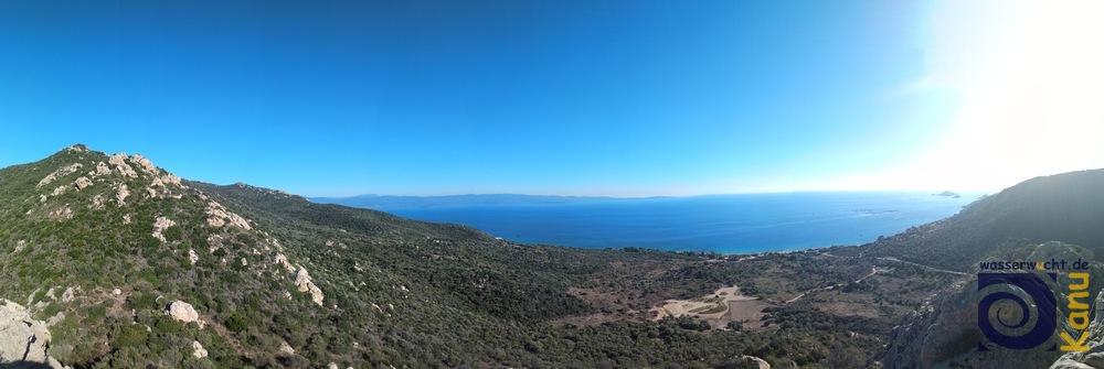 Blick vom Klettergebiet Terre Sacreé bei Ajaccio